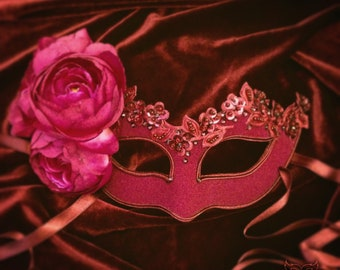 Plum & Burgundy Masquerade Mask -  Embellished Venetian Mask With Roses -Masquerade Ball Mask With Flowers And Rhinestones