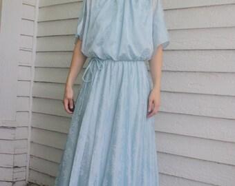 1970s Blue Maxi Grecian Dress Hippie Formal Gown Vintage 70s S