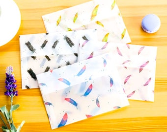 Set Of 8 Colorful Bird Feathers Aztec Style Invitation Cards Translucent Paper Envelopes