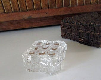 Small Cut Crystal Trinket / Jewelry Box – Rounded Square Covered Clear Glass Box – Vintage Glass Jewelry / Ring Box – Glass Gift Box