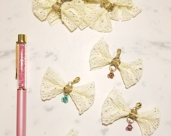 Traveler's Notebook Lace Bow with Rose Charm