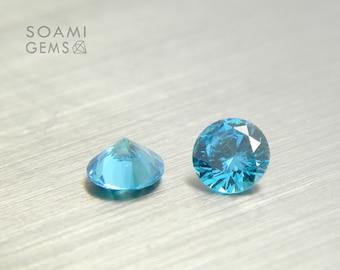 Loose Cubic zirconia round blue aquamarine, 2-6mm round cut blue cubic zirconia faceted gem