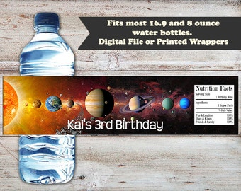 Outer Space Birthday Water Labels, Solar System Water Labels, Water Bottle Labels, Planets Water Labels, Party Favors, Digital or Printed