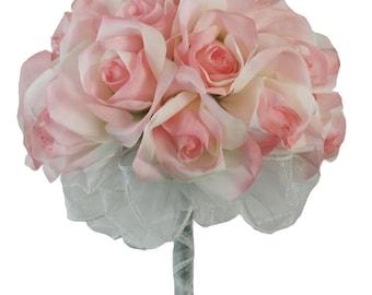 Pink Silk Rose Hand Tie (24 Roses) - Silk Bridal Wedding Bouquet