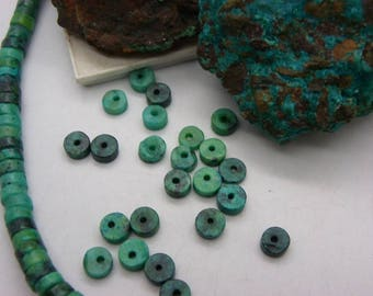 30 slices of green chrysocolla 8 mm Green and black