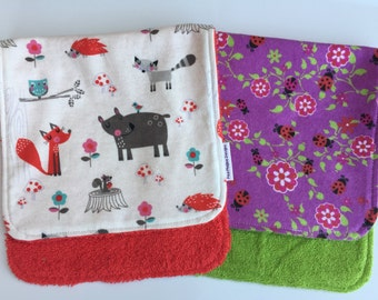 Forest Friends and Ladybugs Burp Cloths