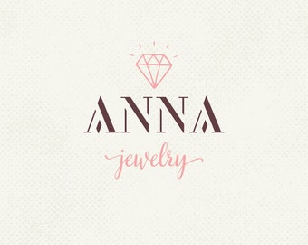 Gem logo, Diamond logo, Handwritten logo, Pre made logo, Jewelry logo, Professional business branding, Graphic design