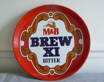 Bright and Decorative Vintage M&B Brew X1 Beer Tray.