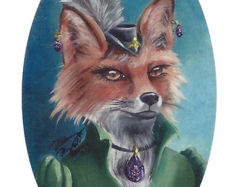 Mrs Fox ACEO Fox Art Animal ACEO Fox ATC Fantasy Art Victorian Fox in Clothes