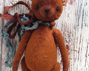 Bear artist teddy, sweet collectible toy, animal doll, stuffed baby bear, miniature plushie, vintage stuffed animals