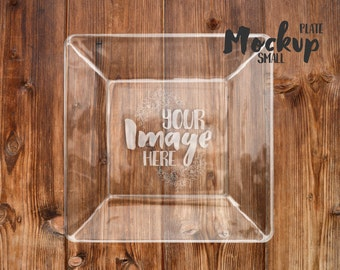Small square glass plate mockup template | Add your own background | Etched glass mockup
