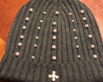 Hunter green pearl hat