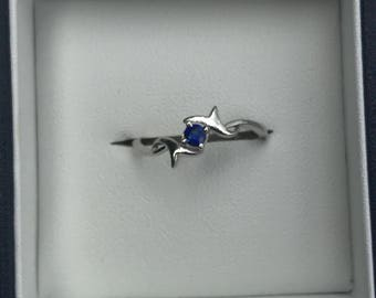 Sapphire ring, silver ring, gemstone ring, blue sapphire ring