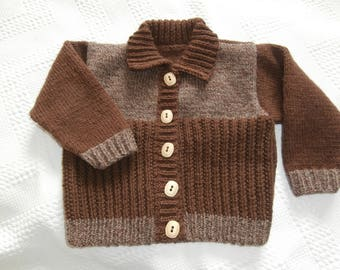 2 years-knitted wool jacket for baby boy hand