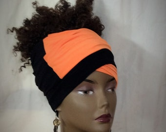 Orange & Black Infinity Head- Wrap - Headband- Headdress- Continous Loop