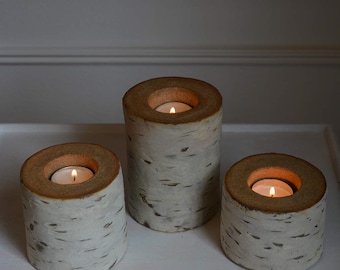 Ceramic Birch Tealight Candleholder, Small