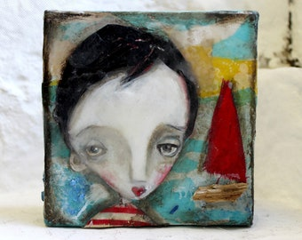 The Boy Who Sailed Away, 2017 mixed media painting