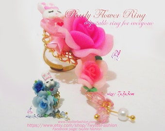 Pearly Flower Ring