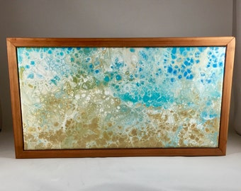 A day at the Beach - Original Acrylic Pour 8x15 custom framed -  ready to hang