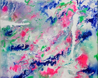 Bright Colours Modern Abstract Acrylic Original Painting on Canvas Art by Breanna Deis