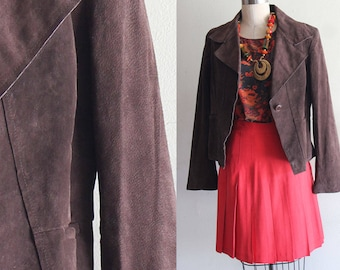 Vintage Anne Klein Brown Suede Jacket Size Large