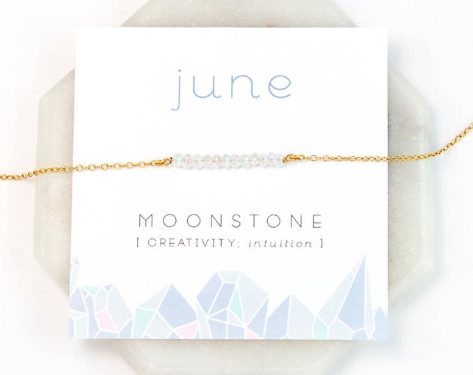 Featured listing image: June Birthstone Necklace, Rainbow Moonstone Necklace Silver, Birthday Present, Gold Bar Necklace, Raw Moonstone Choker, Healing Gemstone