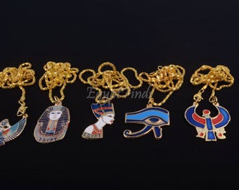 Lot Of 8 Egyptian Tut Eye Of horus Nefertiti Isis Cleopatra And Horus Necklaces
