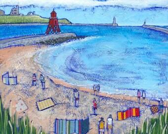 South Shields Beach Goers - art print - seaside picture - beach scene - coastal landscape - from a painting by Joanne Wishart