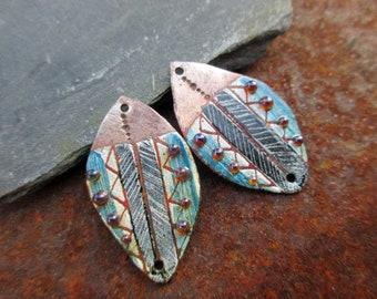 Jeannine RESERVE - Primitive, ethnic - enameled copper charms - amber black blue white - Enameled copper charms.