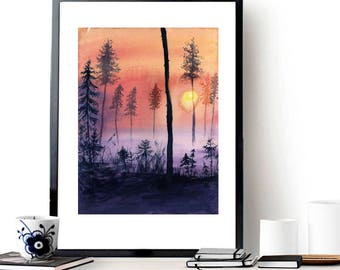 Foggy morning in the pine forest - fog - sunrise of the sun - Original watercolor painting - still life - wall art