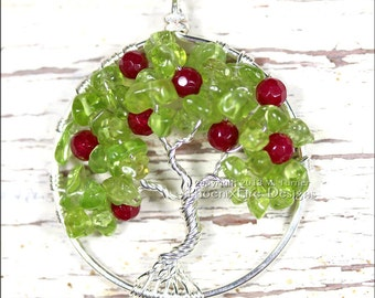Apple Tree of Life Pendant Teacher's Gift Peridot Ruby Red Jade Gemstone Necklace Wire Wrapped Jewelry August Birthstone Harvest Autumn Fall