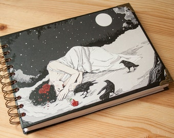 """NOTEBOOK """"Snow White"""" fantasy colour pages, white pages , for drawing, witch, 150 pages, big, sketchbook, steampunk, notebook, perfect gift"""