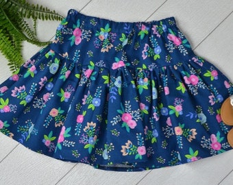 Navy Floral Skirt Size 5