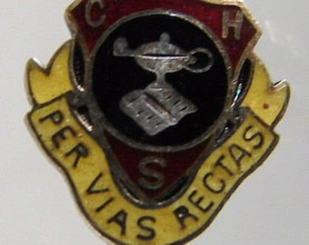 CANADA Vintage Campbellford District High School enamel silver sterling pin badge