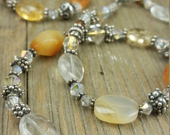 Vintage Glass Bead/ Gemstone/ and Silver Necklace with Matching Bracelet