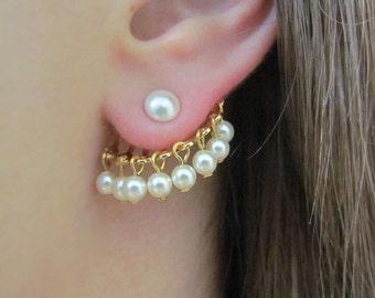 Bridal Ear Cuff, Simple Pearl ear jacket earring Gold, Front Back Earring, Wedding ear Plugs, Freshwater pearl earrings