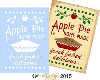 Fresh Baked APPLE PIE Primitive, Farm, Country Stencil For Sign Painting, Crafts, Wood, Canvas and more. Reusable Mylar