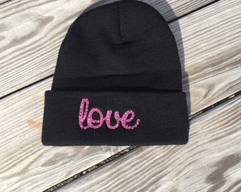Love bling hat beanie hat pink bling cancer beanie cancer hat