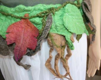 Beautiful Woodland Pixie Fairy Felt Belt/Skirt/Scarflette OOAK Wearable Art. Ready to send.