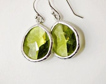 Greenery Earrings Color of the Year Crystal Drop Earrings Silver Earrings  Light Green Earrings Dangle Earrings Bridesmaids Earrings