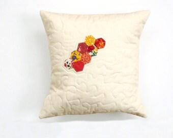 Linen pillow, quilted pillow, orange rust yellow, color block pillow, pillow case, throw pillow, cushion cover, geometric