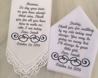 Set of Two Personalized WEDDING HANKIE'S Mother & Father of the Bride Gifts Hankerchief