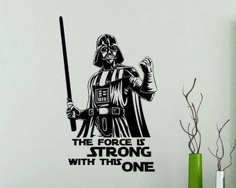 Darth Vader Wall Decal Star Wars Quote Vinyl Sticker The Force Is Strong With This One Sith Poster Kids Room Nursery Art Decor Mural 19sw