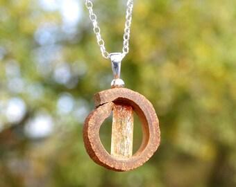 Naturaleza y joyas - Collar y colgante de canela con cristal de topacio imperial en plata de ley