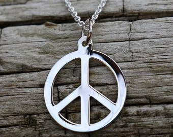 Peace Necklace Charm, Peace Pendant , Peace Sign, Yoga Jewellery, Peace Sign Jewelry, Silver Disc Necklace Pendant, Silver Pendant Only
