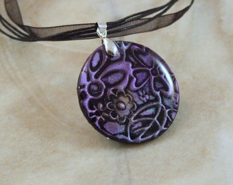 Floral Imprinted Purple Polymer and Resin Necklace