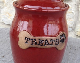 Dog Treat Pottery Jar Canister in Firebrick Red