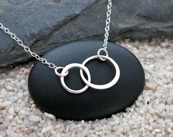 Two Circles Necklace, Two Small Sterling Silver Circle Links, Simple Jewelry