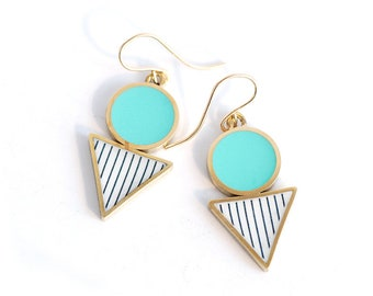 Turquoise and Gold Geometric Drop earrings in Brass and Resin
