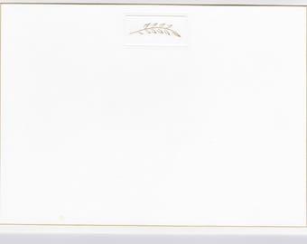 Gold Branch/Gold Beveled Border Correspondence Card